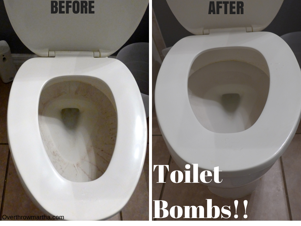 Before and After picture of Toilet Bomb #DIY #cleaning