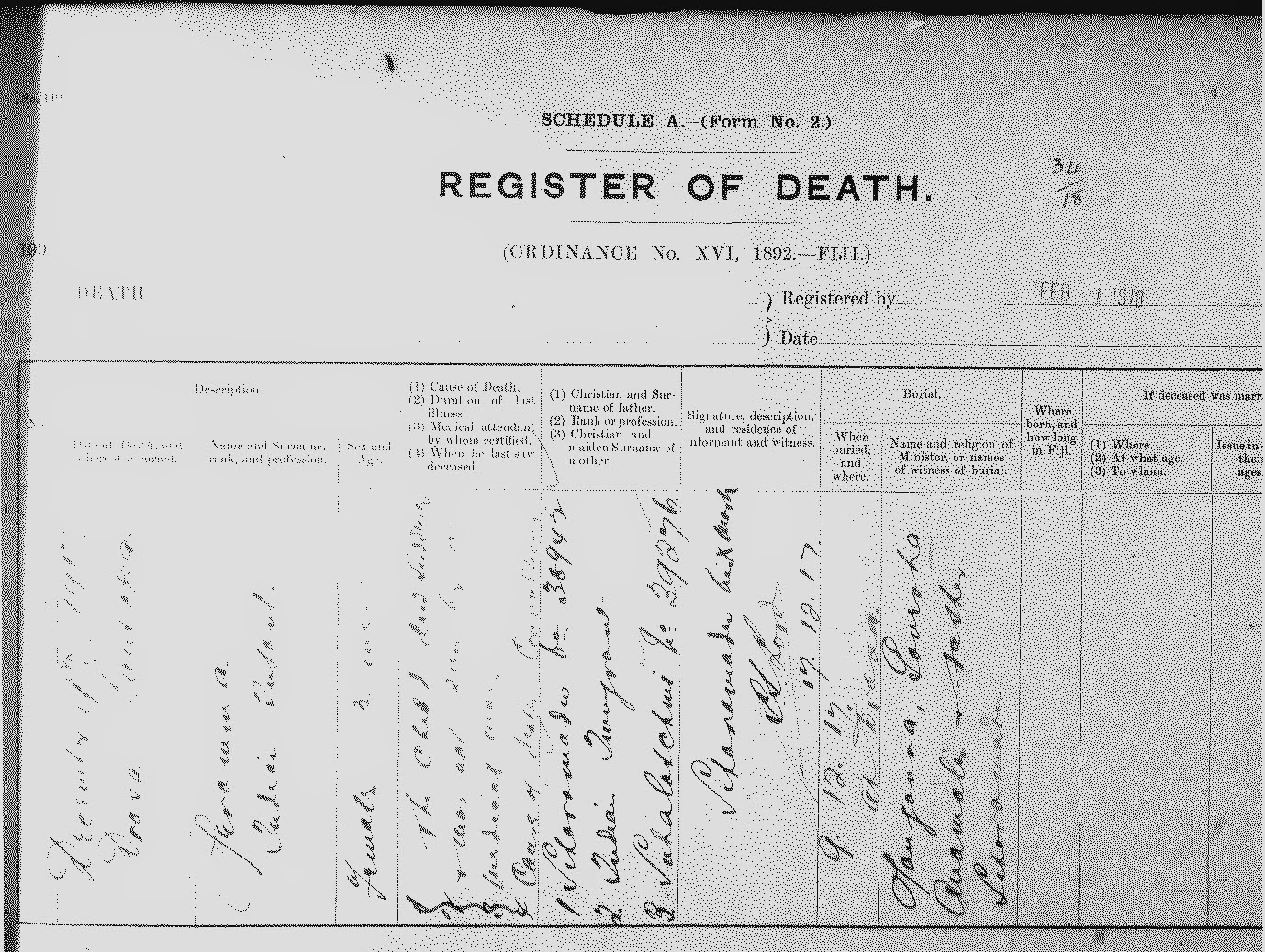 Treasure chest thursday fijian birth death and marriage records death certificates for fijian deaths 1877 are written in fijian yadclub Gallery