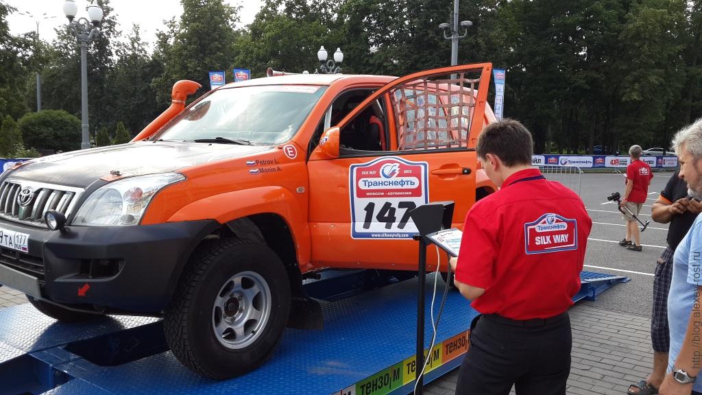 Взвешивание раллийного Toyota Land Cruiser