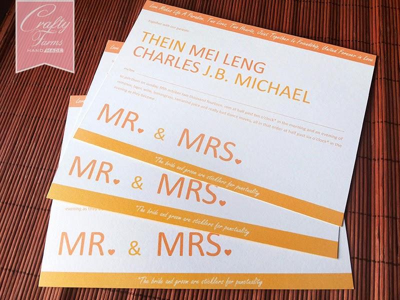 Simple Orange Themed One Piece Wedding Invitation Card, Mr & Mrs