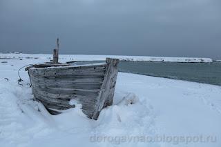 Одинокая барка. Остров Вайгач. Ненецкий автономный округ. Природа НАО.