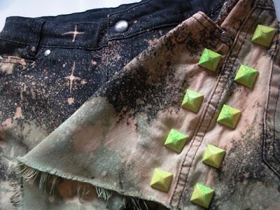 diy galaxy szorty ćwieki punk studded jeans brad moda