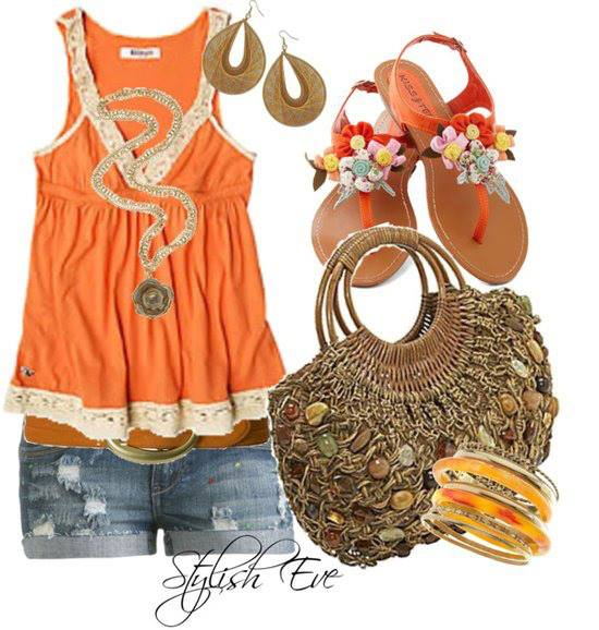 Orange blouse, mini shorts, sandals and hand bag for ladies