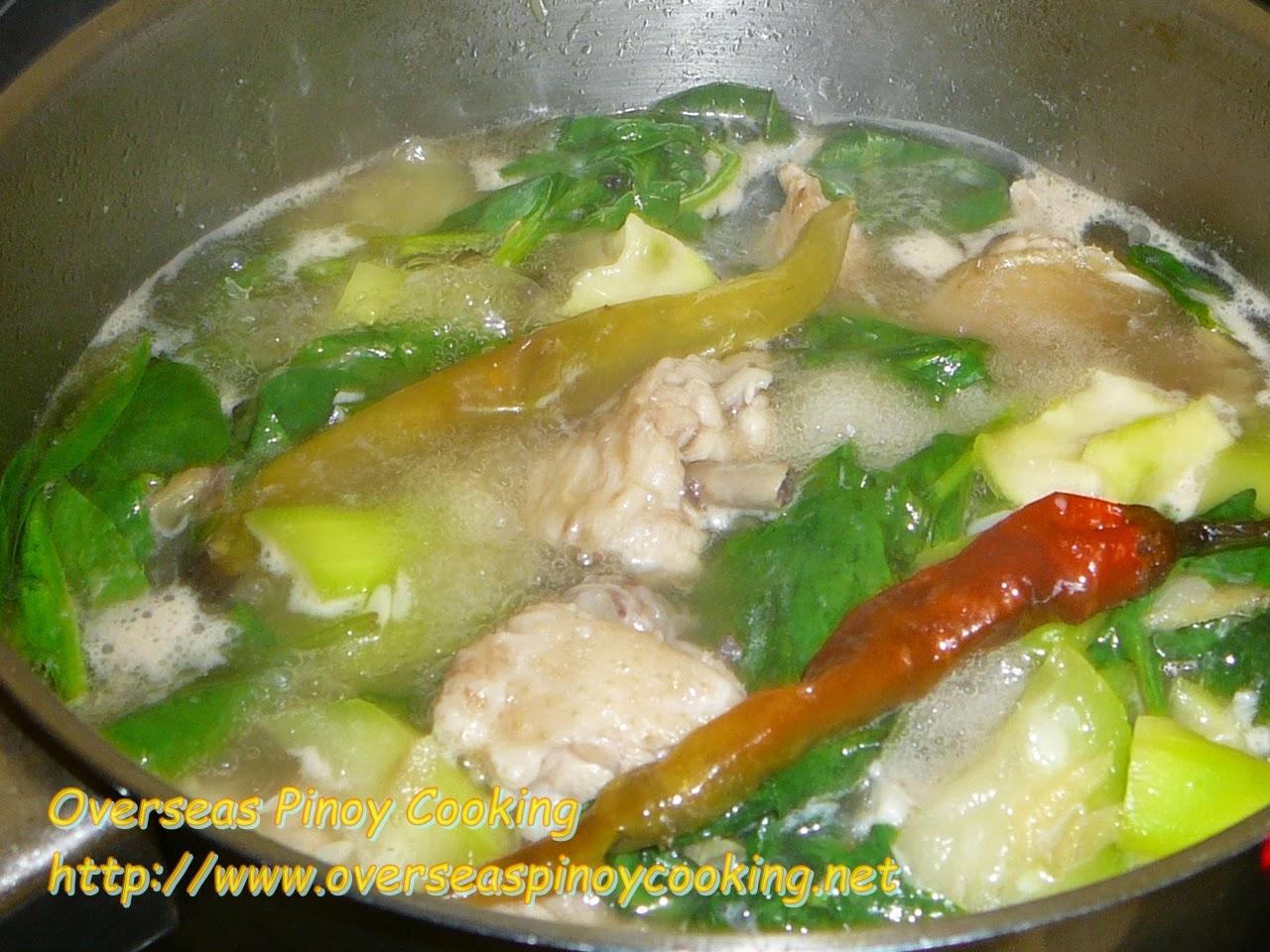 Tinolang Manok sa Upo - Cooking Procedure