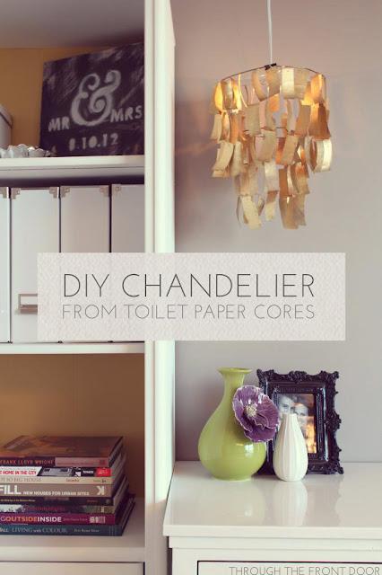 diy toilet paper chandelier through the front door