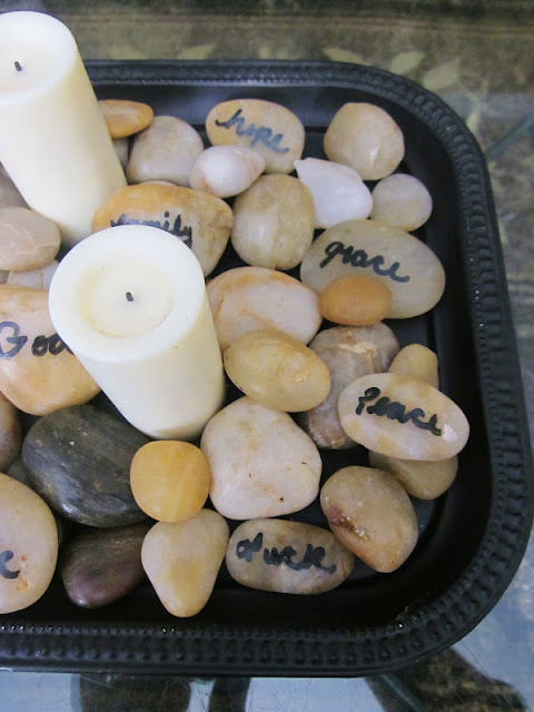 Homespun with love rock candle centerpiece