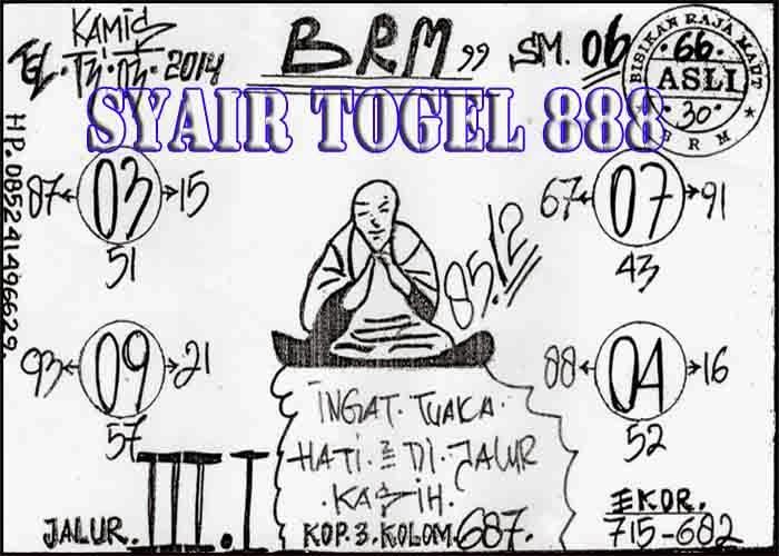 Syair SGP Togel Info Singapore, Kamis 13 Maret 2014