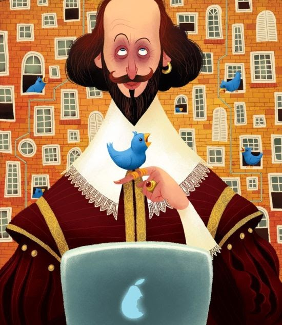 Denis Zilber illustrations funny cartoonish caricatures Shakespeare twitting
