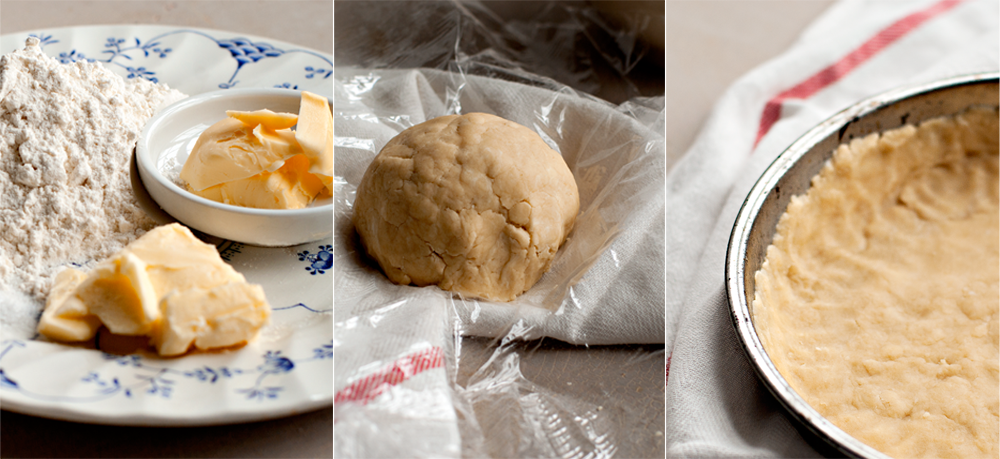 a triptych of pastry ingredients, pastry dough, and a pastry-lined tart pan
