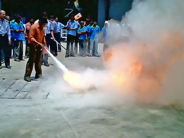 Bhadra Staff being trained for Fire Safety and Prevention