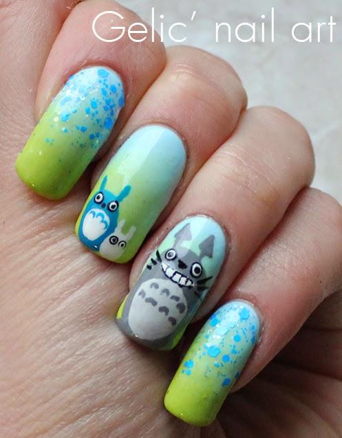 Gelic\' nail art: NCC presents: Totoro nail art