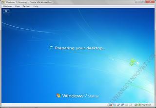 windows 7 sudah siap digunakan didalam virtual box anda