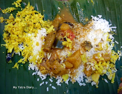 Temple meal or prasadam at ISKCON temple in Kannur, Kerala