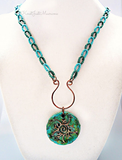 Micro macrame chain necklace by Sherri Stokey of Knot Just Macrame with tribal sun pendant