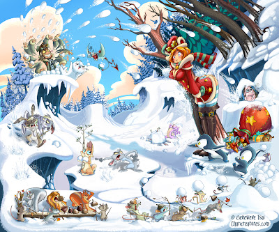 snow scene cartoon