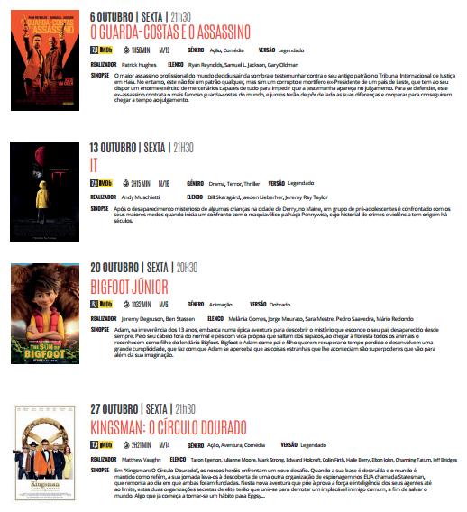 Cartaz Cinema- Outubro 2017