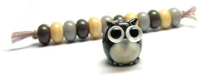 Lampwork glass owl bead