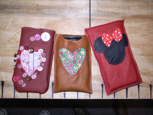 Leather phone covers with fabric hearts