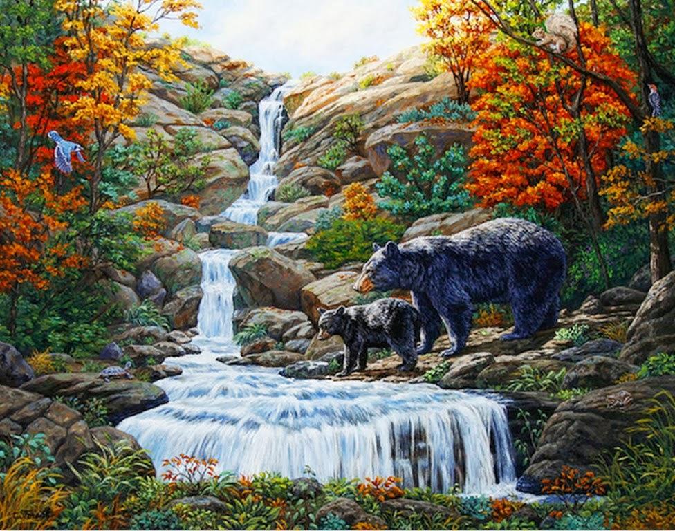 Im genes arte pinturas paisajes con cascadas y animales for Fotos cascadas
