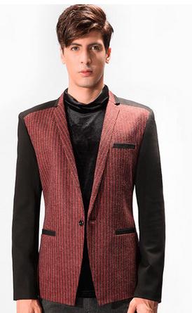 Elegant Burgundy Pinstriped Blazer