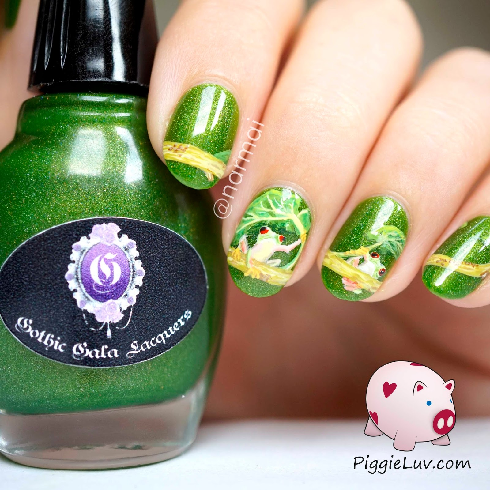 PiggieLuv: Freehand red-eyed tree frog nail art
