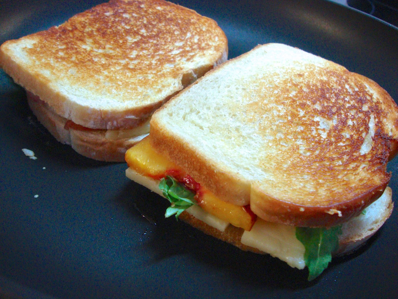 Carrie's Creations: Peach, Arugula and White Cheddar Grilled Cheese