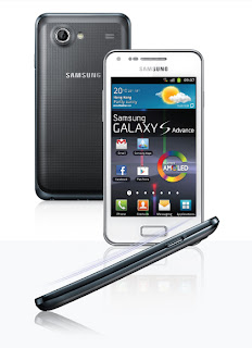 samsung galaxy s advance white back and front and side view