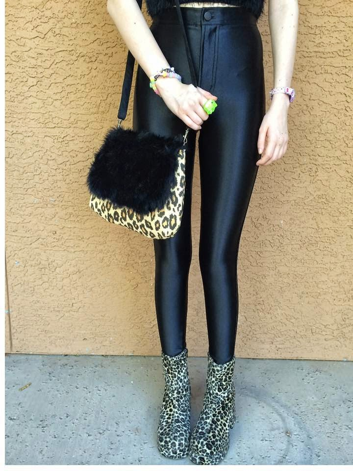 Black Fur with Animal Print Crossbody Bag