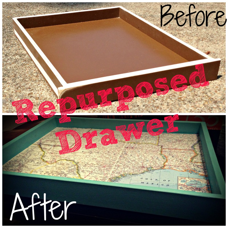 Coffee Table With Map Drawers: Repurposed Drawer Into Coffee Table Tray