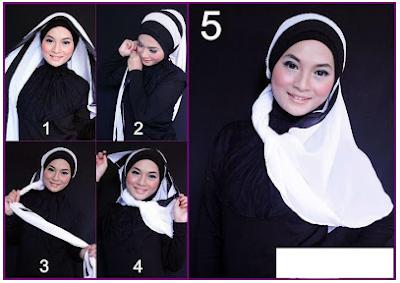 Cara Memakai Hijab Selendang 2 Susun Warna