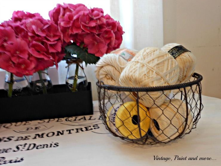 Vintage, Paint and more... wire egg basket filled with crochet thread spools