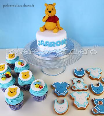 baby shower torta cake biscotti cookies cupcakes winnie the pooh maschio boy
