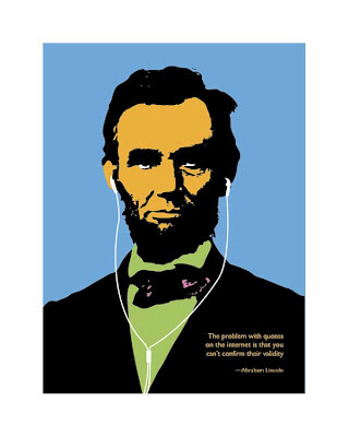 Abraham Lincoln illustration wearing ipod ear buds