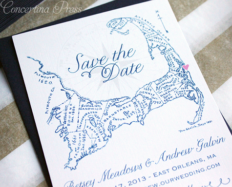 navy blue Cape Cod map save the dates with a cute heart on the location of the ceremony