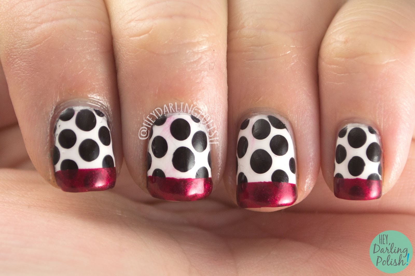 nails, nail art, nail polish, polka dots, french tips, red, black, white, hey darling polish, oh mon dieu part deus, fashion, polka dots,