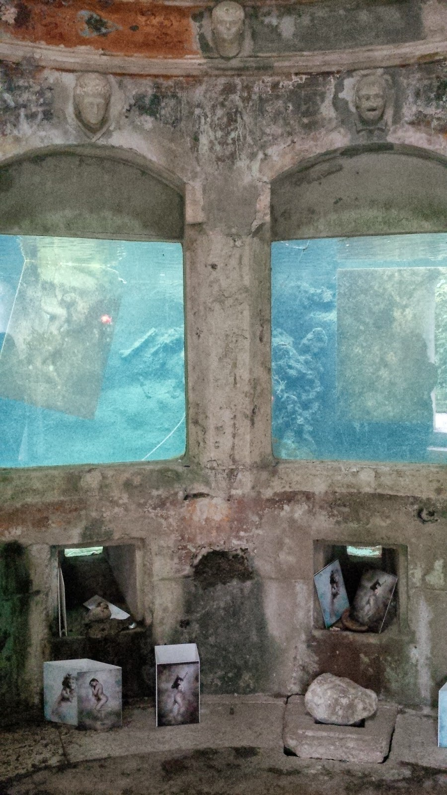 The shrine in the aquarium in the park of Villa Rossi in Santorso
