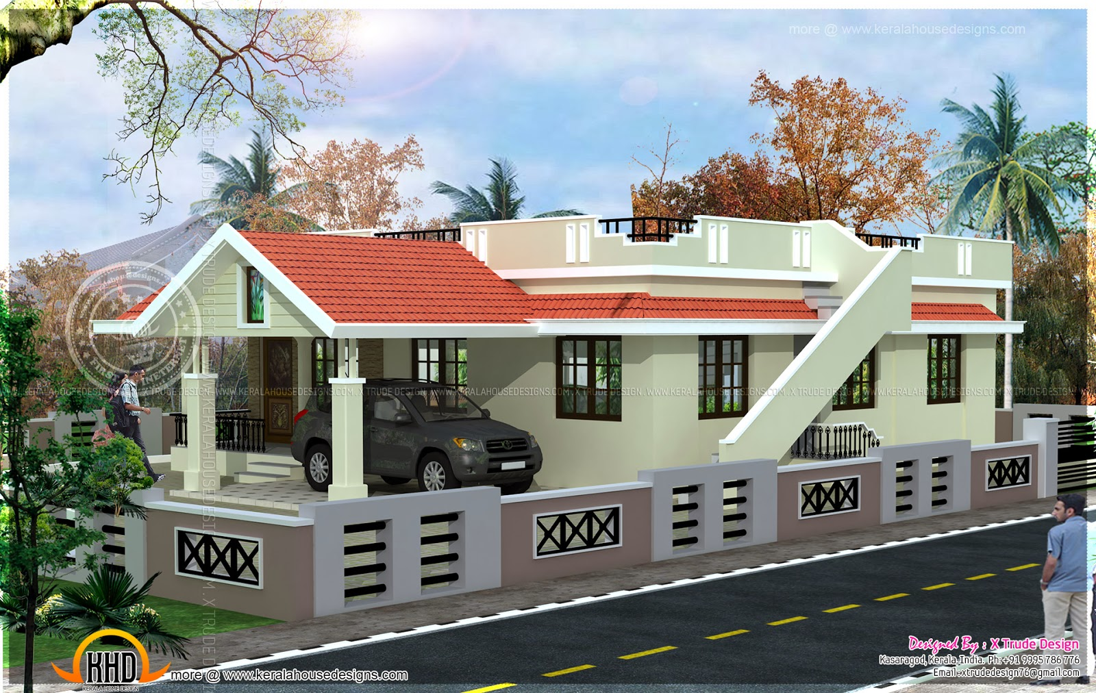 Single floor 2 bedroom house elevation indian house plans for Single floor house elevations indian style