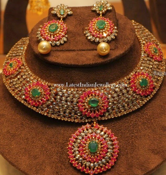 Victorian Polki Diamond Ruby Necklace
