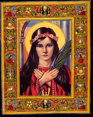 Santa Filomena niña con los brazos cruzados en el pecho, palma de martirio y flechas