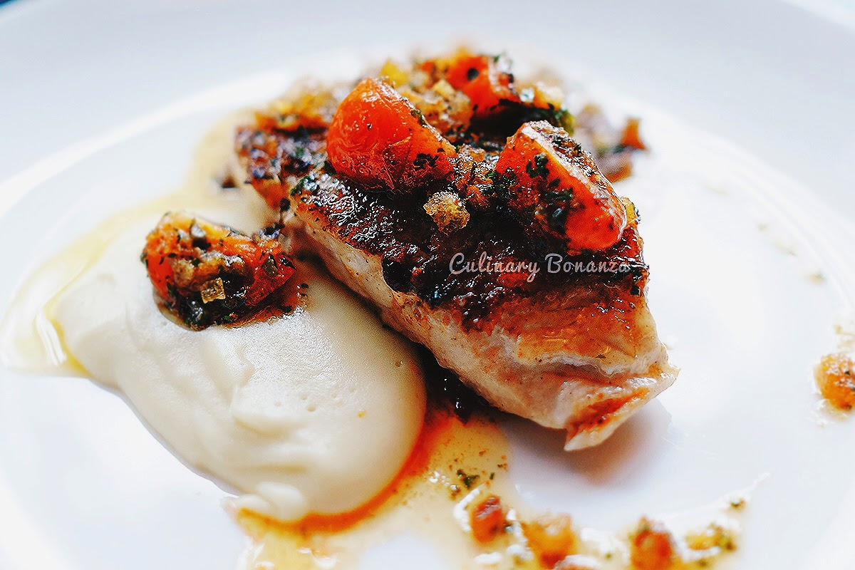 Seabass Grenobloise - pan seared fillet seabass with grenobloise condiment & potato mash