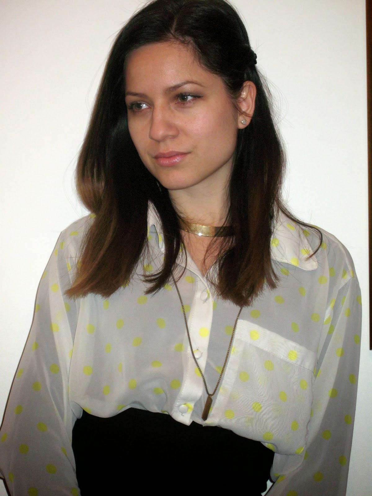 party look, black pencil skirt, sheer polka dots shirt, golden necklace, new yorker shirt,