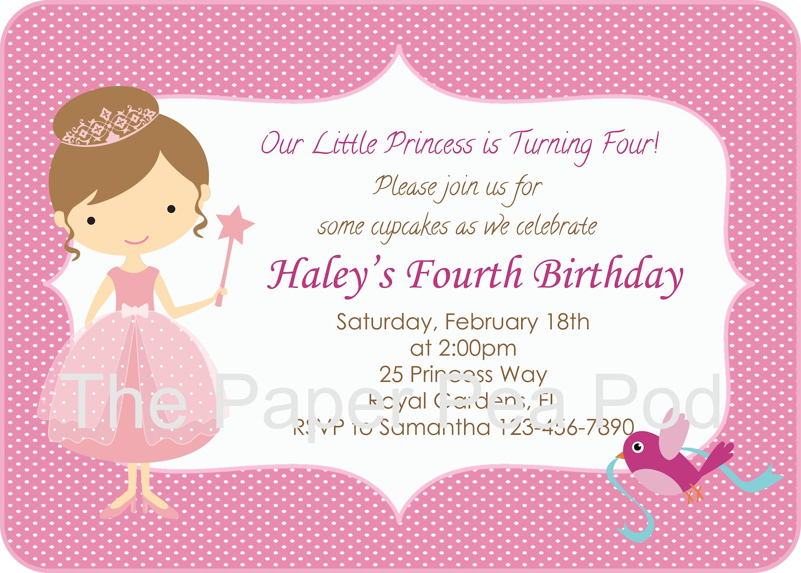 contemporary princess invitation template composition example