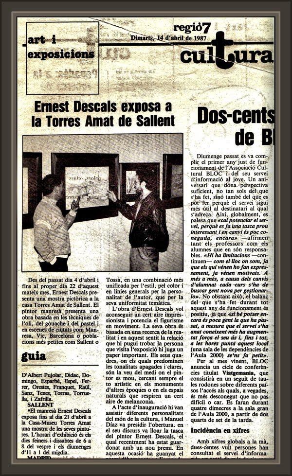 SALLENT-TORRES AMAT-PRENSA-EXPOSICIONES-PINTURA-ERNEST DESCALS