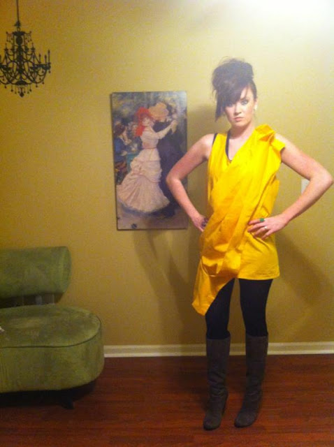 NWAFW, yellow tunic, gray boots, wild hair
