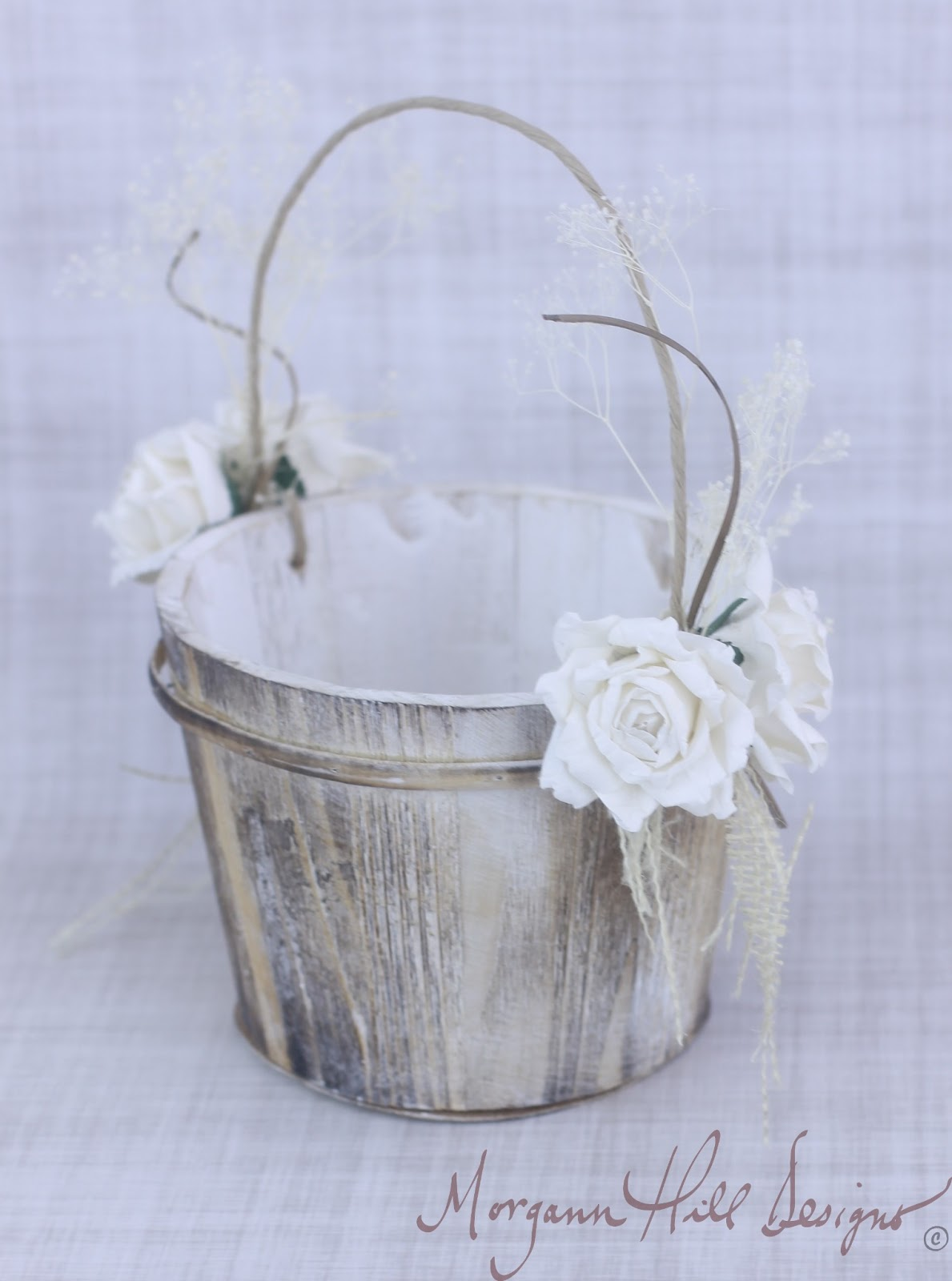 Flower Girl Baskets Burlap : Morgann hill designs rustic flower girl basket paper