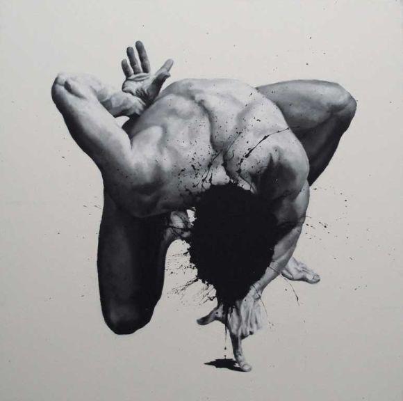 Paolo Troilo pinturas incríveis preto e branco homens em conflito