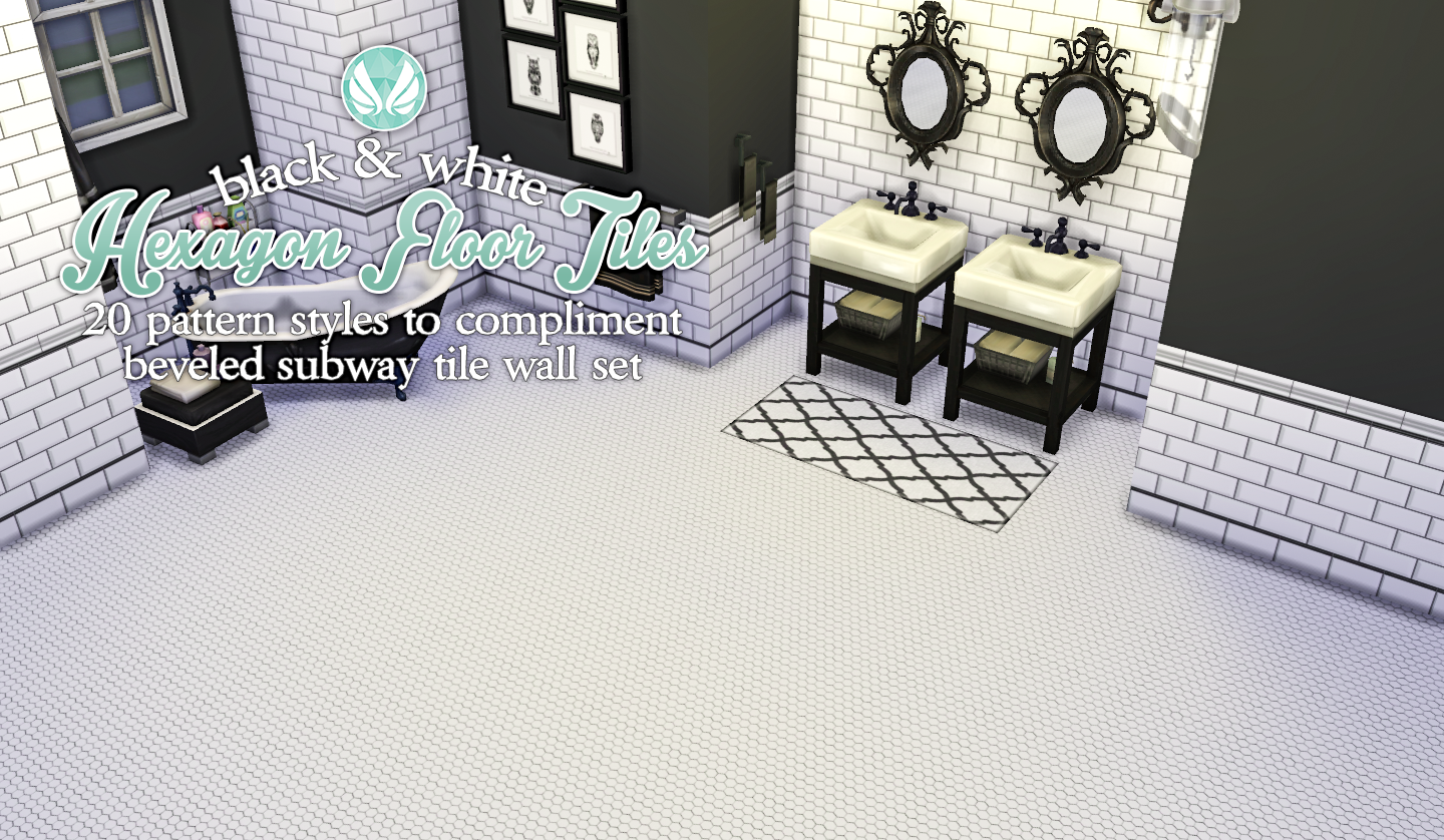 Simsational designs black and white hexagon floor tiles black and white hexagon floor tiles dailygadgetfo Choice Image