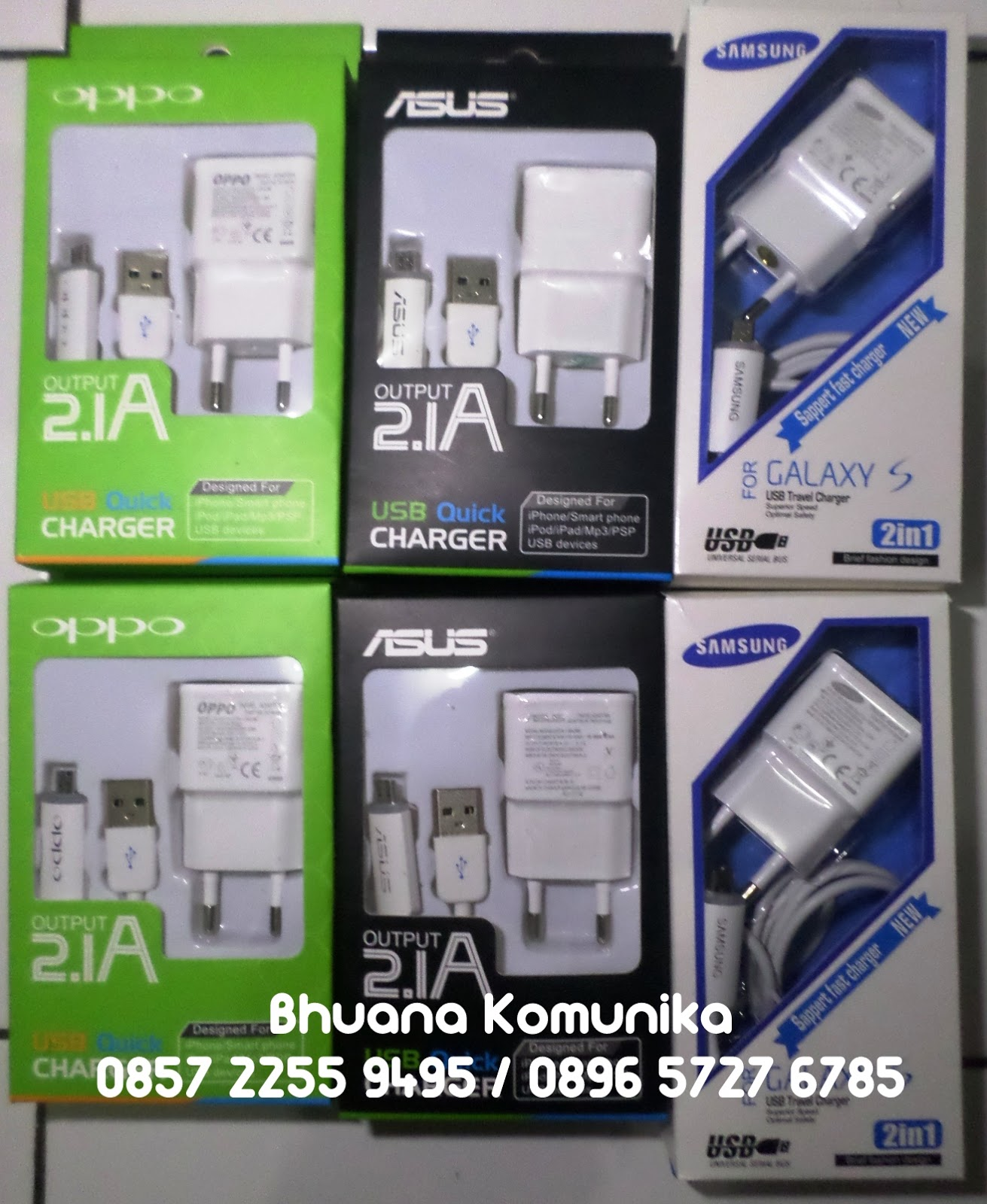 Bhuana Komunika Travel Charger Merk Asus Oppo Dan Samsung Output 21a Quick