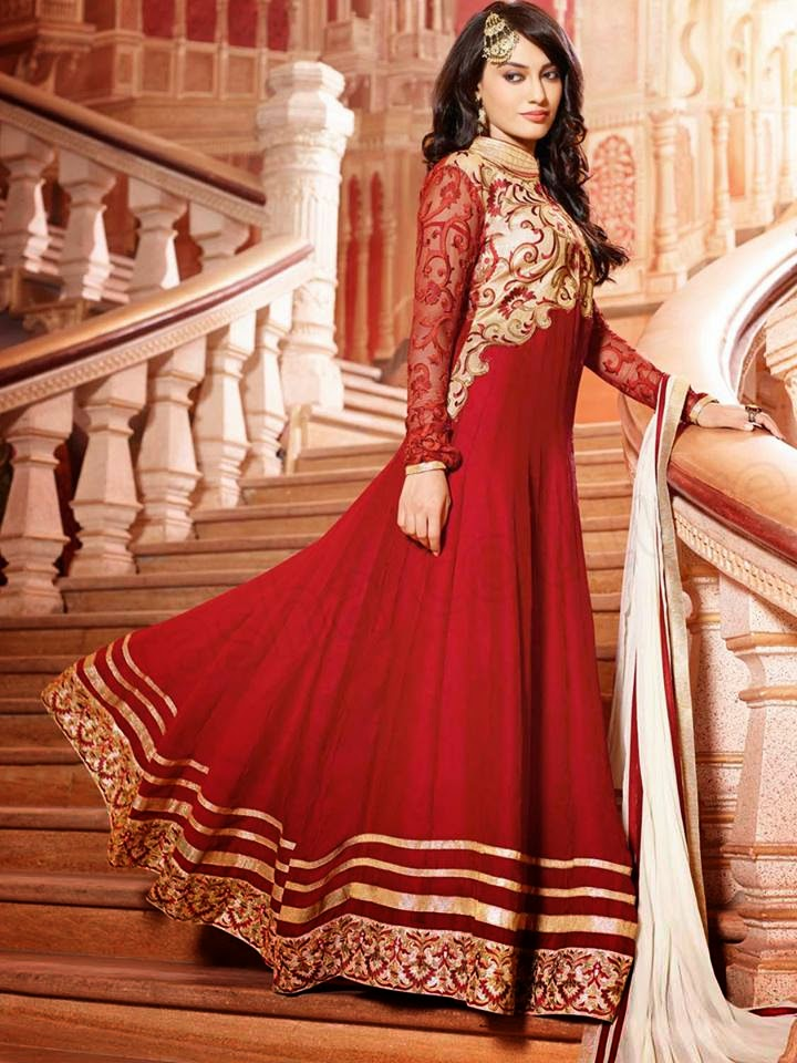 Red Anarkali Frocks