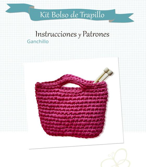 Patrón e Instrucciones Bolso de trapillo, sweet sixteen craft store, Madrid.